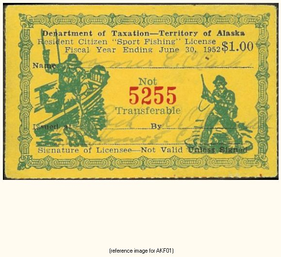 Alaska sport fishing license stamp 1951 56 detail for Ak fishing license