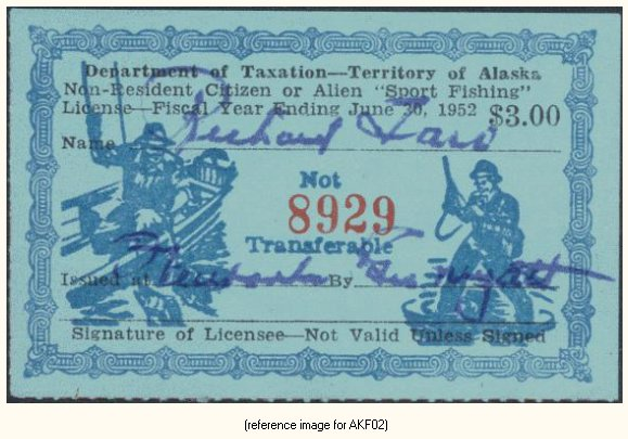 Alaska sport fishing license stamp 1951 56 summary for Ak fishing license
