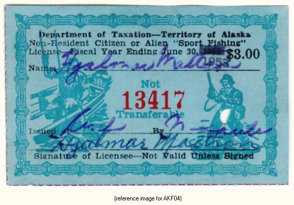 Alaska sport fishing license stamp 1951 56 summary for State of alaska fishing license