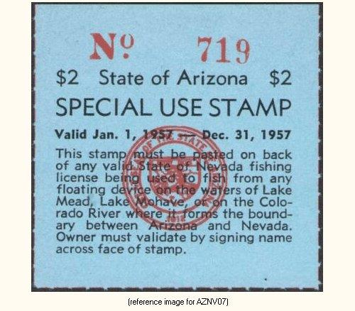 Arizona special nv az license colorado river 1951 for Fishing license az