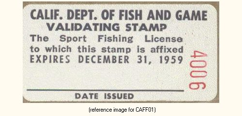 California free fishing license validation 1959 1980 for Where to buy california fishing license