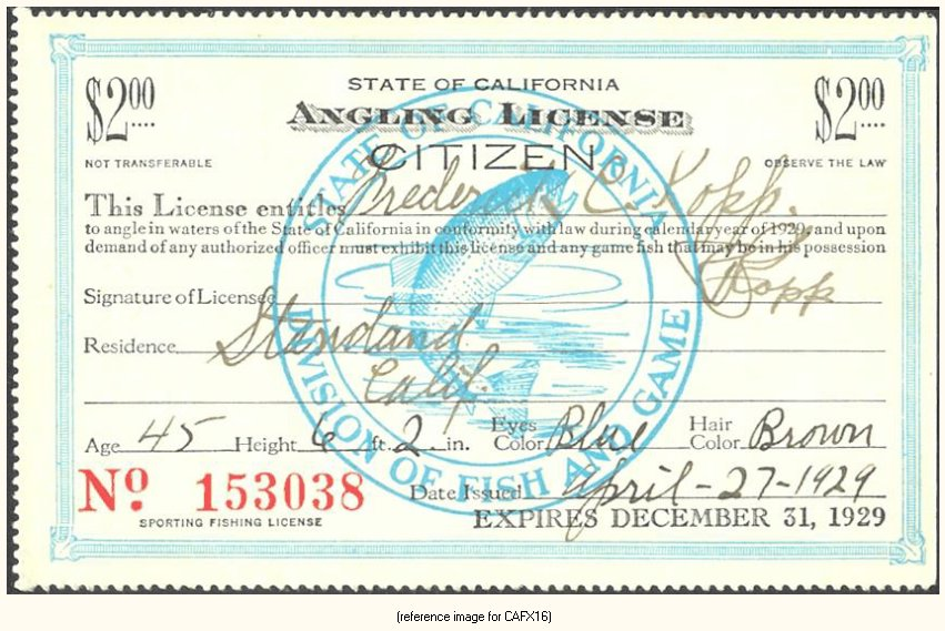 California - Pictorial Fishing Licenses (1914-1931) - Summary