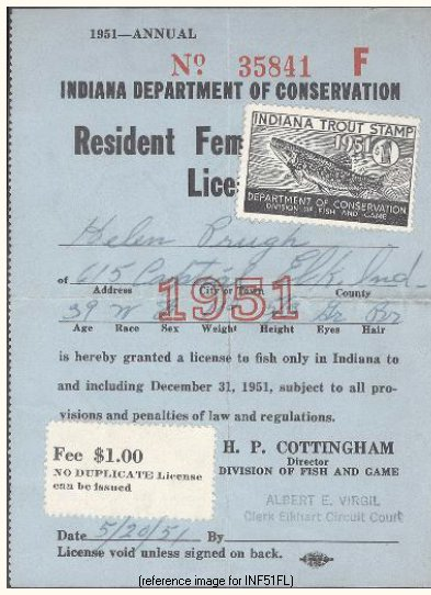 indiana - fishing license fee increase (1951 only) - summary