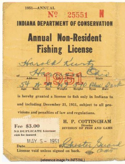 indiana fishing license fee increase 1951 only detail