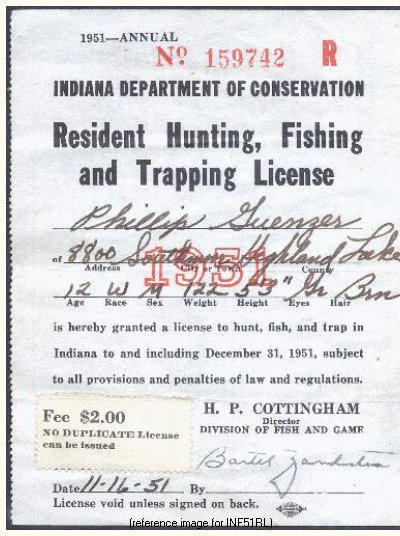Indiana Fishing License Fee Increase 1951 Only Summary