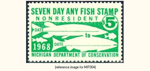 Michigan fishing license stamp 1968 only detail for Fishing license mi