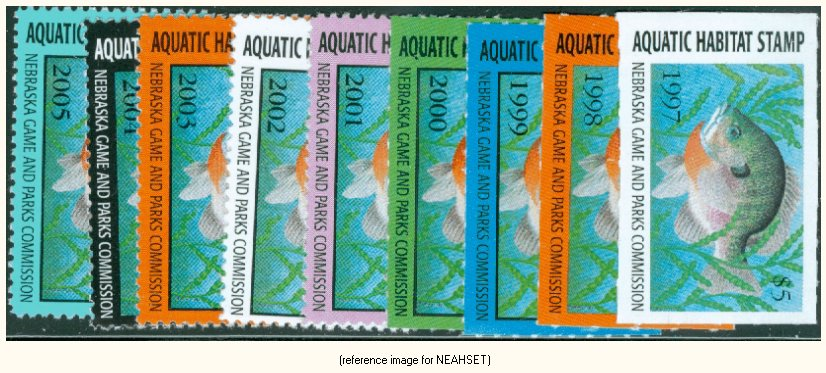 SETNebraska Aquatic Habitat Stamp Cplt Set 9 1997 2005