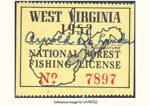West virginia national forests fishing license 1951 for Virginia fishing license online