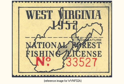West virginia national forests fishing license 1951 for Wv hunting and fishing license
