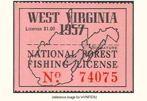 West virginia national forests fishing license 1951 for Virginia fishing license