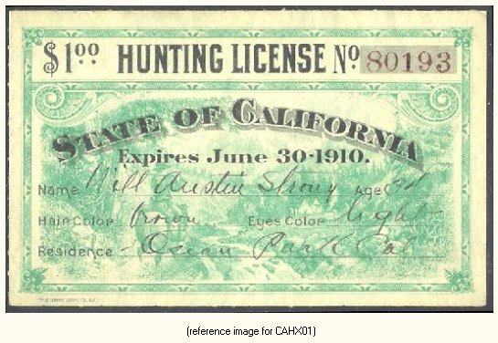 california - pictorial hunting licenses (1909-1931) - summary