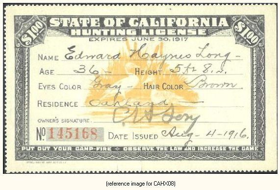 California pictorial hunting licenses 1909 1931 summary for Calif fishing license