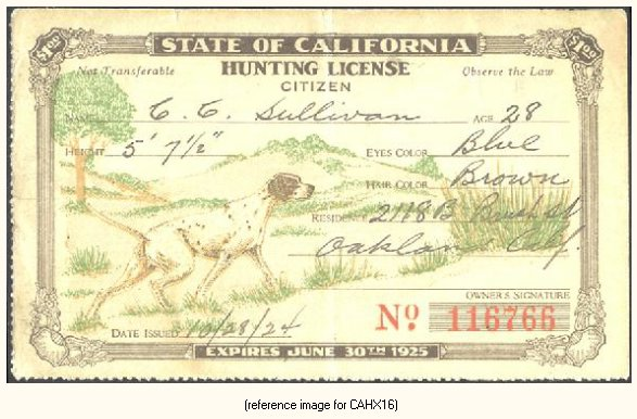 California pictorial hunting licenses 1909 1931 summary for How much is a fishing license in california