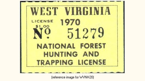 West virginia national forests hunting license 1951 for Va fishing license