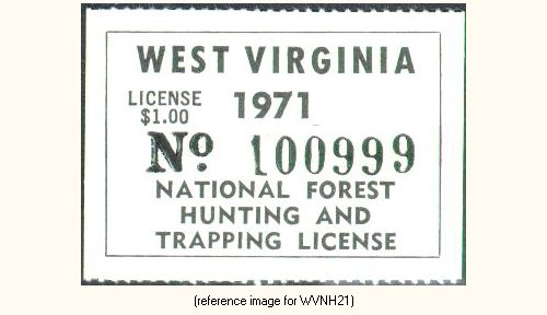 West virginia national forests hunting license 1951 for Virginia fishing license