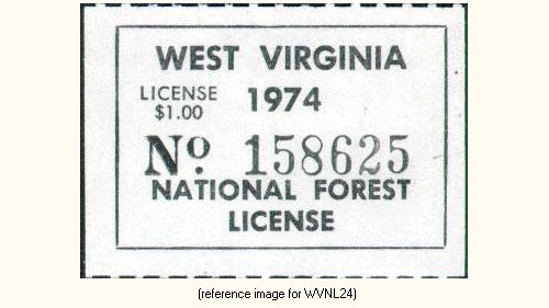 West virginia national forests hunt fish license 1972 for Wv hunting and fishing license