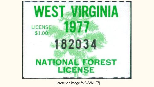 West virginia national forests hunt fish license 1972 for Wv fishing license online